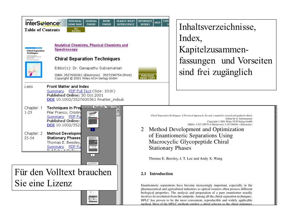 Inhaltsverzeichnisse, Index, Kapitelzusammen- fassungen und Vorseiten sind frei zugänglich Für den Volltext brauchen Sie eine Lizenz