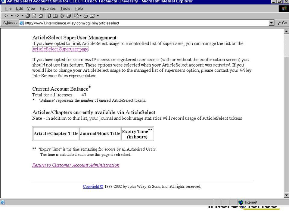 Article Select jeder Nutzer kann direkt zugreifen kontrolliert durch ausgewählte Bibliothekare 3 Formen des Zugriffsmanagements: Direktzugriff der Nut