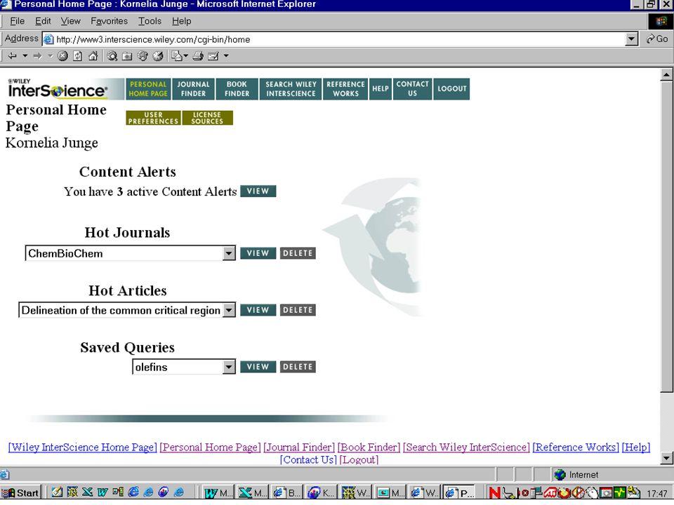Content Alerts informieren via e-mail, wenn ein neues Heft online ist Eine Volltext- Lizenz ist hierzu nicht notwendig