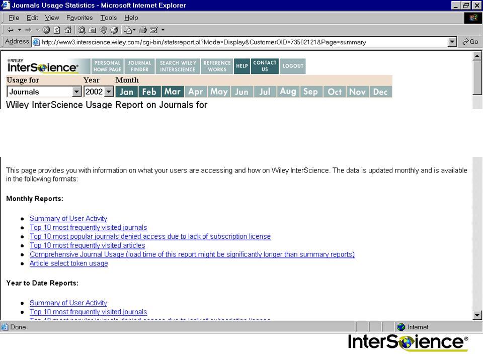 Nutzungsstatistiken Für EAL Kunden Zeitschriften, Reference Works und OnlineBooks (Neu!) Folgen den ICOLC Richtlinien Zugang über http://www.interscie