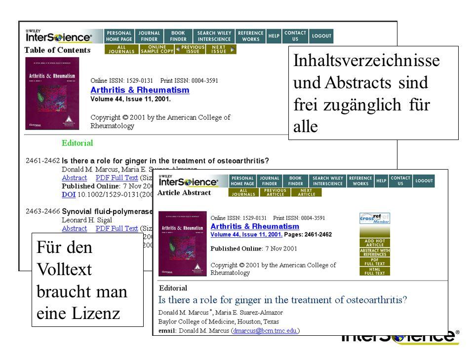 Inhaltsverzeichnisse und Abstracts sind frei zugänglich für alle Für den Volltext braucht man eine Lizenz