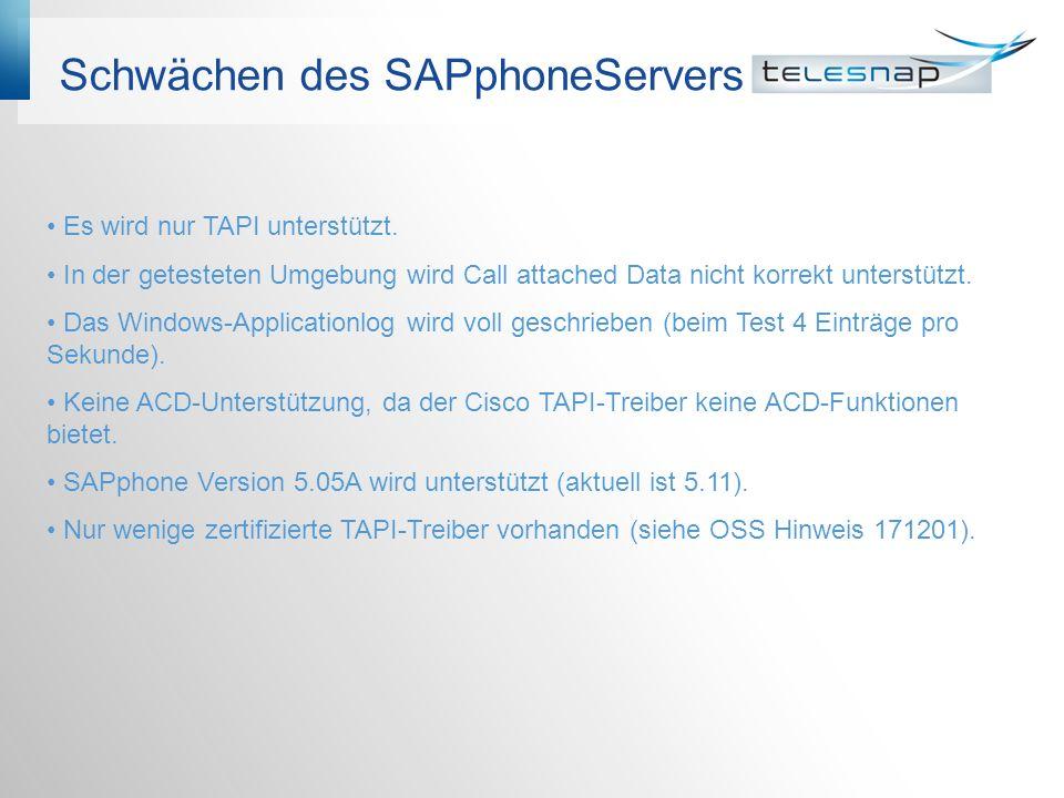 Schwächen des SAPphoneServers Es wird nur TAPI unterstützt. In der getesteten Umgebung wird Call attached Data nicht korrekt unterstützt. Das Windows-