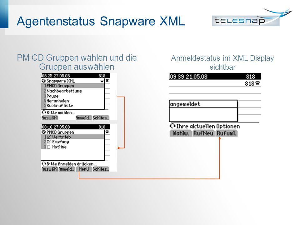 Agentenstatus Snapware XML PM CD Gruppen wählen und die Gruppen auswählen Anmeldestatus im XML Display sichtbar