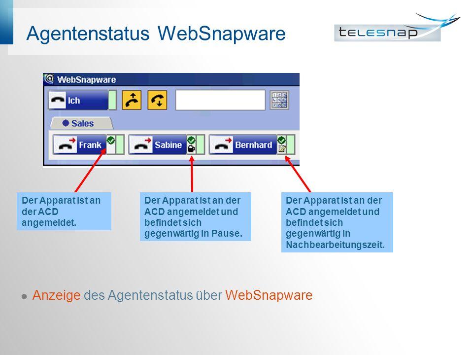 Agentenstatus WebSnapware Anzeige des Agentenstatus über WebSnapware Der Apparat ist an der ACD angemeldet und befindet sich gegenwärtig in Pause.