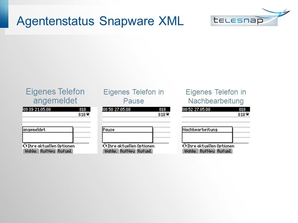 Agentenstatus Snapware XML Eigenes Telefon angemeldet Eigenes Telefon in Pause Eigenes Telefon in Nachbearbeitung