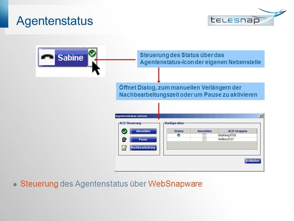Agentenstatus Steuerung des Agentenstatus über WebSnapware Öffnet Dialog, zum manuellen Verlängern der Nachbearbeitungszeit oder um Pause zu aktivieren Steuerung des Status über das Agentenstatus-Icon der eigenen Nebenstelle