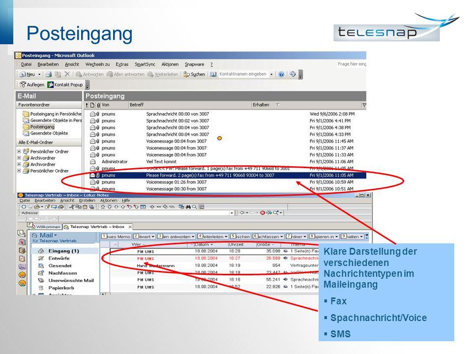 Posteingang Klare Darstellung der verschiedenen Nachrichtentypen im Maileingang Fax Spachnachricht/Voice SMS