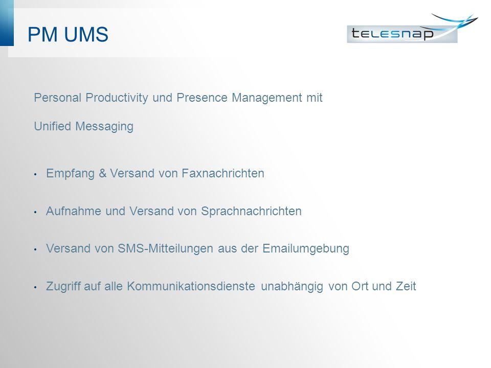 PM UMS Personal Productivity und Presence Management mit Unified Messaging Empfang & Versand von Faxnachrichten Aufnahme und Versand von Sprachnachric