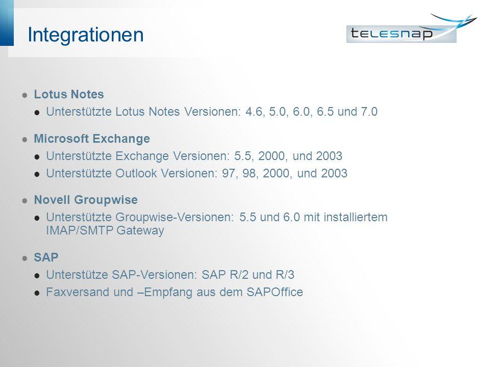 Integrationen Lotus Notes Unterstützte Lotus Notes Versionen: 4.6, 5.0, 6.0, 6.5 und 7.0 Microsoft Exchange Unterstützte Exchange Versionen: 5.5, 2000