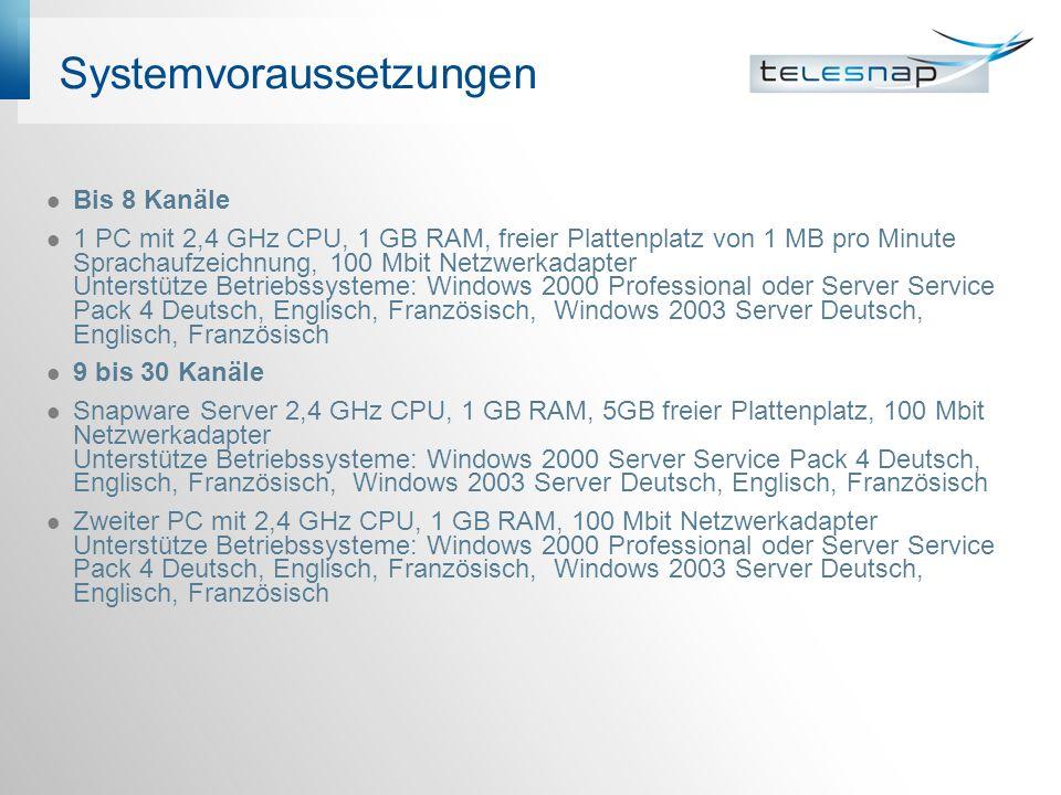 Systemvoraussetzungen Bis 8 Kanäle 1 PC mit 2,4 GHz CPU, 1 GB RAM, freier Plattenplatz von 1 MB pro Minute Sprachaufzeichnung, 100 Mbit Netzwerkadapte