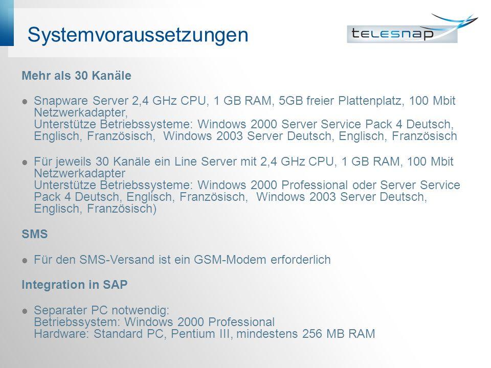 Systemvoraussetzungen Mehr als 30 Kanäle Snapware Server 2,4 GHz CPU, 1 GB RAM, 5GB freier Plattenplatz, 100 Mbit Netzwerkadapter, Unterstütze Betrieb
