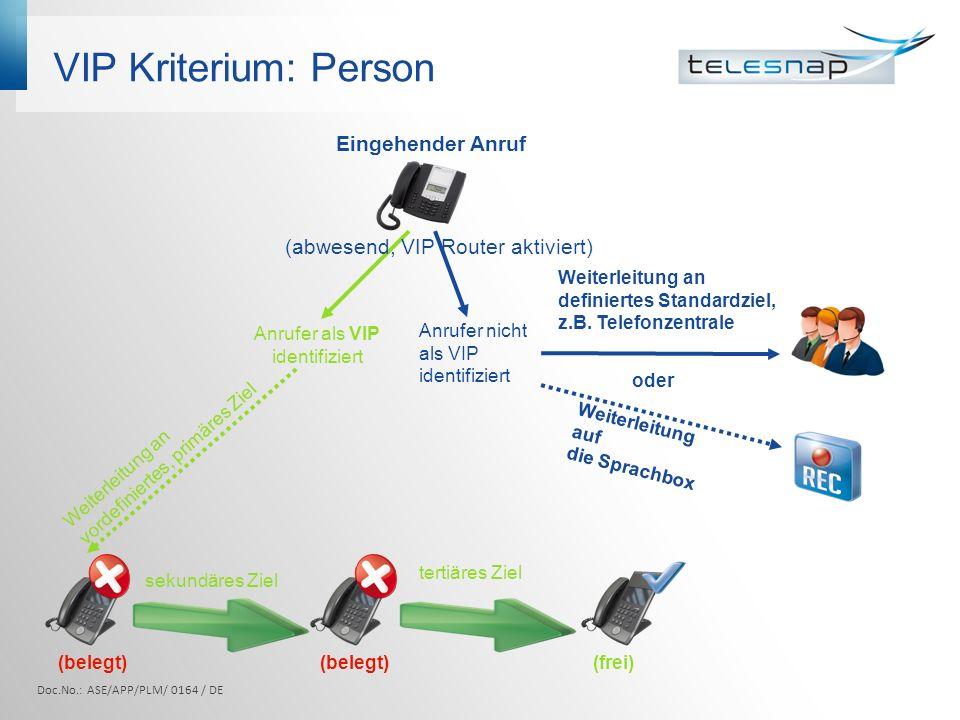 VIP Kriterium: Person Anrufer wird als VIP anhand der kompletten Rufnummer erkannt VIP Router leitet automatisch an nächste freie, definierte Nebenstelle weiter Anrufer ist kein VIP: Weiterleitung an definiertes Standardziel, z.B.
