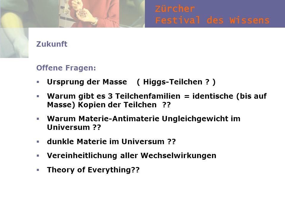 Zürcher Festival des Wissens Zukunft Offene Fragen: Ursprung der Masse ( Higgs-Teilchen ? ) Warum gibt es 3 Teilchenfamilien = identische (bis auf Mas