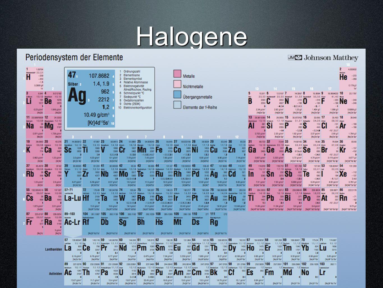 Halogene Fluor F 2 Chlor Cl 2 Brom Br 2 Iod I 2 (Astat At 2 ) ©hemie M. Hügli