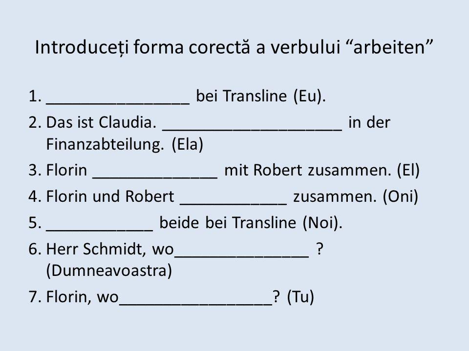 Introduceți forma corect ă a verbului arbeiten 1.________________ bei Transline (Eu). 2.Das ist Claudia. ____________________ in der Finanzabteilung