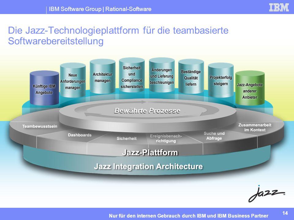 IBM Software Group | Rational-Software 14 Nur für den internen Gebrauch durch IBM und IBM Business Partner Die Jazz-Technologieplattform für die teambasierte Softwarebereitstellung