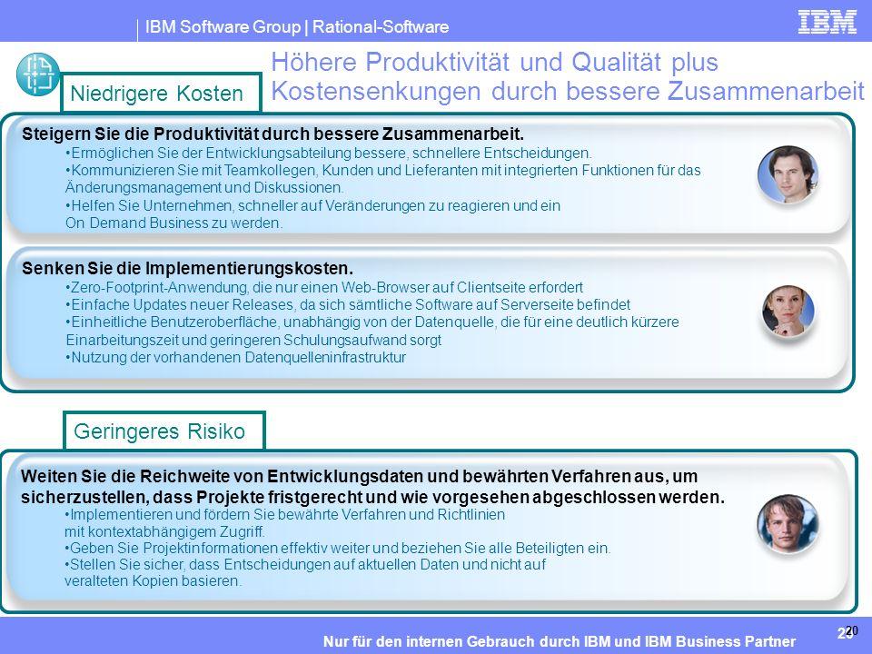 IBM Software Group | Rational-Software 20 Nur für den internen Gebrauch durch IBM und IBM Business Partner 20 Höhere Produktivität und Qualität plus Kostensenkungen durch bessere Zusammenarbeit Weiten Sie die Reichweite von Entwicklungsdaten und bewährten Verfahren aus, um sicherzustellen, dass Projekte fristgerecht und wie vorgesehen abgeschlossen werden.