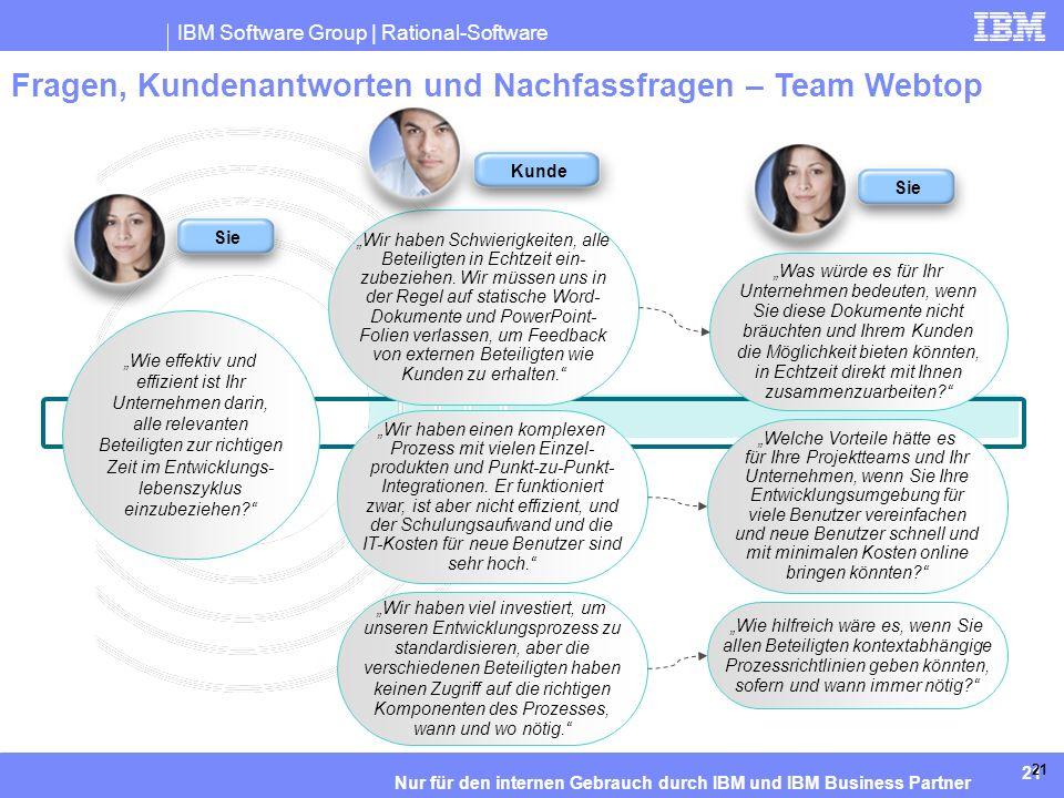 IBM Software Group | Rational-Software 21 Nur für den internen Gebrauch durch IBM und IBM Business Partner 21 Fragen, Kundenantworten und Nachfassfragen – Team Webtop Wie effektiv und effizient ist Ihr Unternehmen darin, alle relevanten Beteiligten zur richtigen Zeit im Entwicklungs- lebenszyklus einzubeziehen.