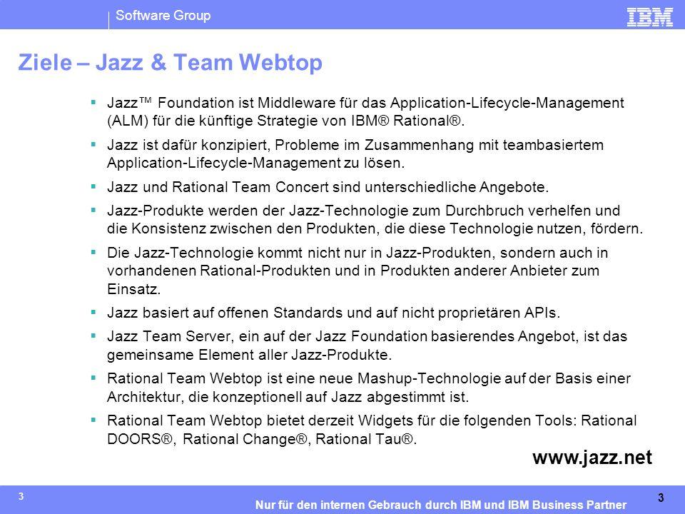 IBM Software Group   Rational-Software 14 Nur für den internen Gebrauch durch IBM und IBM Business Partner Die Jazz-Technologieplattform für die teambasierte Softwarebereitstellung