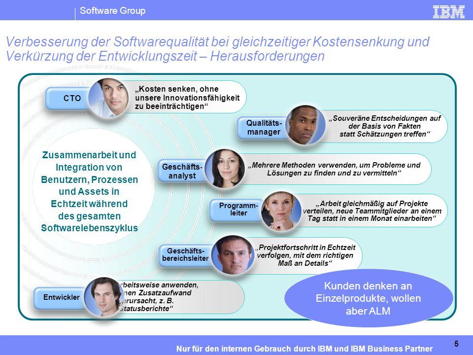 IBM Software Group   Rational-Software 6 Nur für den internen Gebrauch durch IBM und IBM Business Partner Unsere Kunden haben in verschiedene Produkte investiert und bitten uns, sie zu integrieren … Tool F Tool A Tool B Tool C Tool D Tool E DB UI LOGIK DB UI LOGIK DB UI LOGIK UI LOGIK DB UI (Benutzeroberfläche) – Web- und Desktopdarstellungen von Ansichten und Aufgaben Logik – Workflow, Prozess, Suche, Abfrage, Skalierung, Sicherheit und Zusammenarbeit Speicher – Verfügbarkeit, Rückverfolgbarkeit, Datenschutz, Sicherung/Archivierung Labile Verbindungen Proprietäre APIs Hohe Wartungs- und Admini- strations- kosten Isolierte Bereiche Wie löst man dieses Problem?