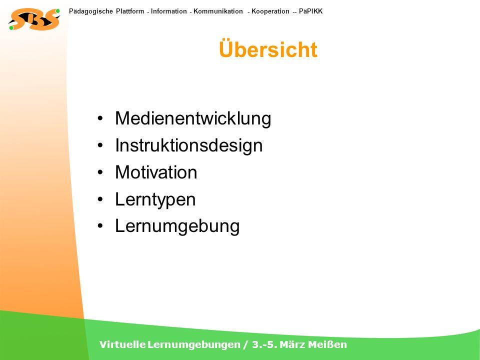 Pädagogische Plattform - Information - Kommunikation - Kooperation -- PäPIKK Virtuelle Lernumgebungen / 3.-5. März Meißen Übersicht Medienentwicklung