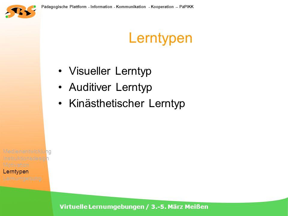Pädagogische Plattform - Information - Kommunikation - Kooperation -- PäPIKK Virtuelle Lernumgebungen / 3.-5. März Meißen Lerntypen Visueller Lerntyp