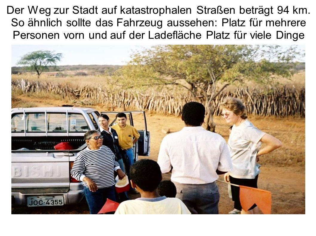 Der Weg zur Stadt auf katastrophalen Straßen beträgt 94 km. So ähnlich sollte das Fahrzeug aussehen: Platz für mehrere Personen vorn und auf der Ladef