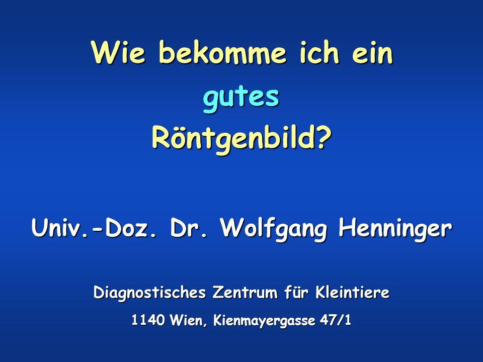 Wie bekomme ich ein gutes Röntgenbild? Univ.-Doz. Dr. Wolfgang Henninger Diagnostisches Zentrum für Kleintiere 1140 Wien, Kienmayergasse 47/1