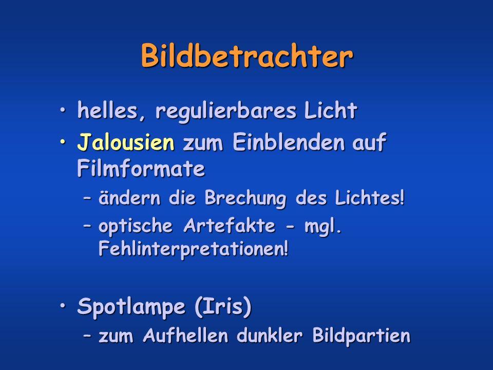 Bildbetrachter helles, regulierbares Lichthelles, regulierbares Licht Jalousien zum Einblenden auf FilmformateJalousien zum Einblenden auf Filmformate