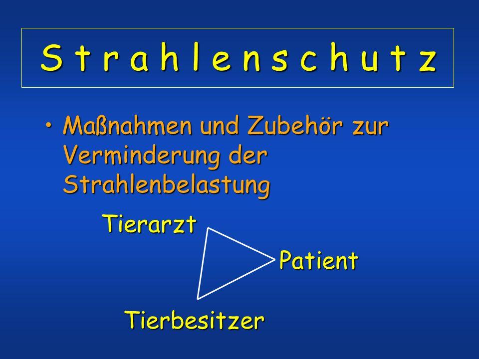 S t r a h l e n s c h u t z Maßnahmen und Zubehör zur Verminderung der StrahlenbelastungMaßnahmen und Zubehör zur Verminderung der Strahlenbelastung P