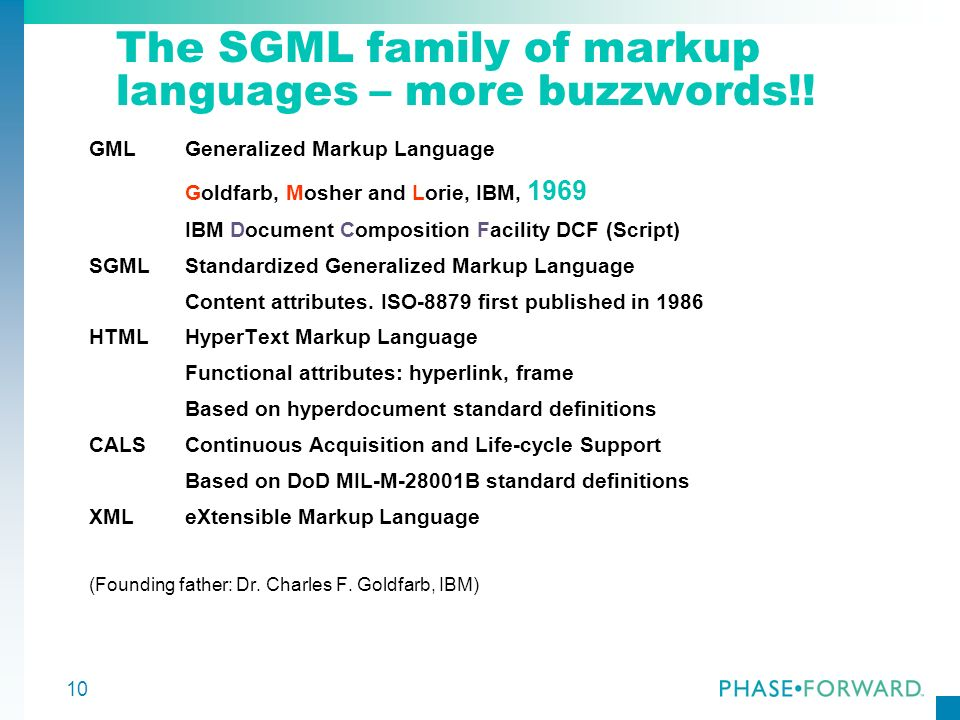 10 The SGML family of markup languages – more buzzwords!! GMLGeneralized Markup Language Goldfarb, Mosher and Lorie, IBM, 1969 IBM Document Compositio