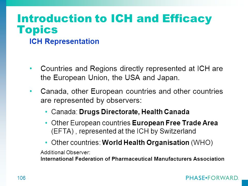 106 Introduction to ICH and Efficacy Topics ICH Representation Countries and Regions directly represented at ICH are the European Union, the USA and J