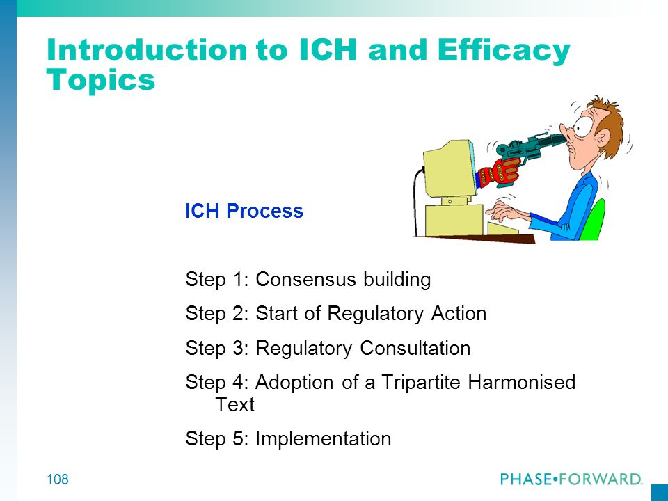 108 Introduction to ICH and Efficacy Topics ICH Process Step 1: Consensus building Step 2: Start of Regulatory Action Step 3: Regulatory Consultation
