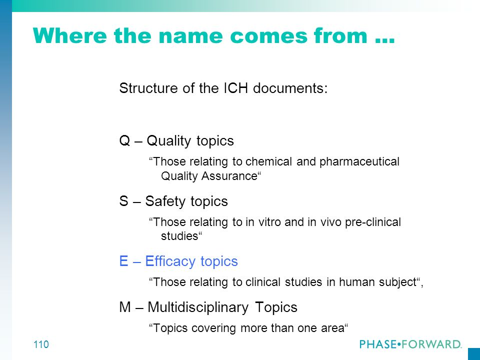 110 Where the name comes from... Structure of the ICH documents: Q – Quality topics Those relating to chemical and pharmaceutical Quality Assurance S
