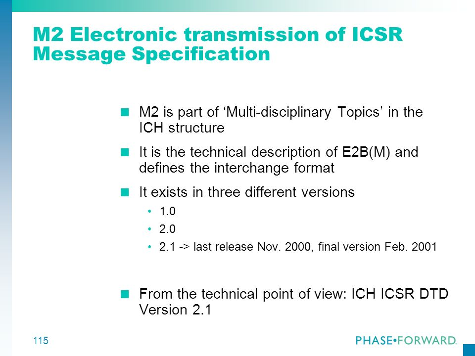 115 M2 Electronic transmission of ICSR Message Specification M2 is part of Multi-disciplinary Topics in the ICH structure It is the technical descript