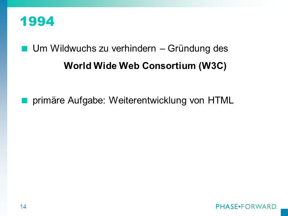 15 1998 W3C erkannte, daß mit HTML die Herausforderungen der Zukunft nicht gemeistert werden können Zwischen Zuviel an Markup (SGML) und dem Zuwenig (HTML) sollte der goldene Mittelweg gefunden werden Abschluß des Findungsprozesses – XML 1998 als offizieller Standard verabschiedet
