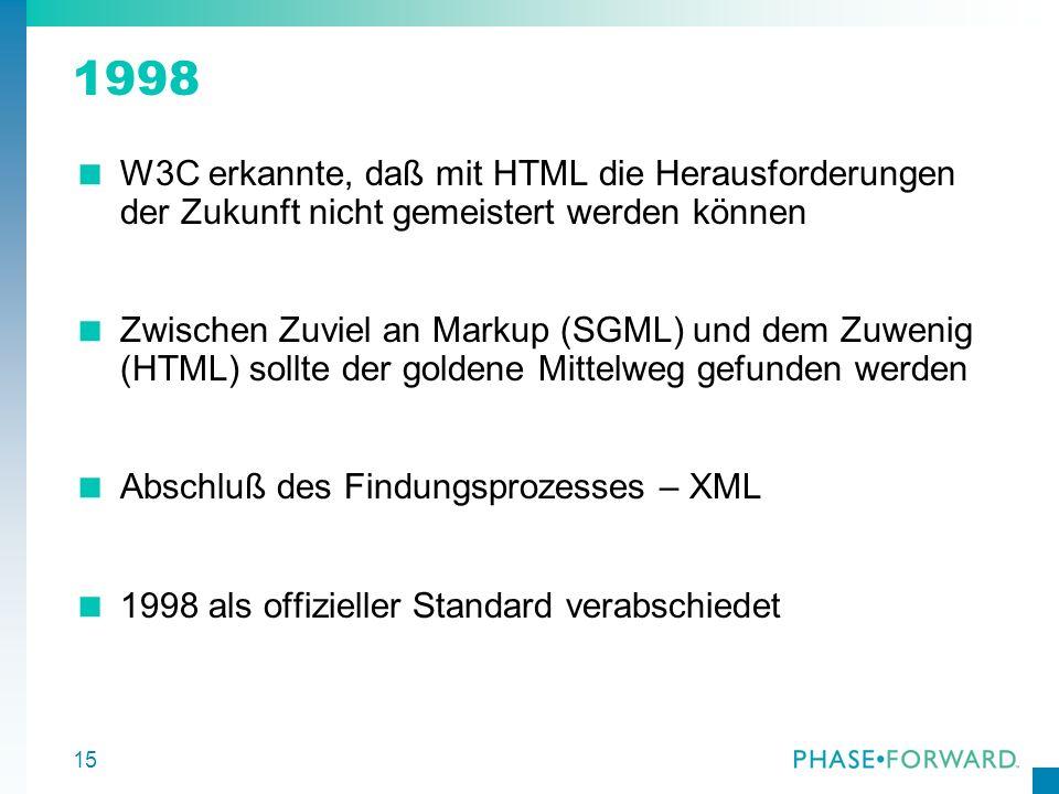15 1998 W3C erkannte, daß mit HTML die Herausforderungen der Zukunft nicht gemeistert werden können Zwischen Zuviel an Markup (SGML) und dem Zuwenig (