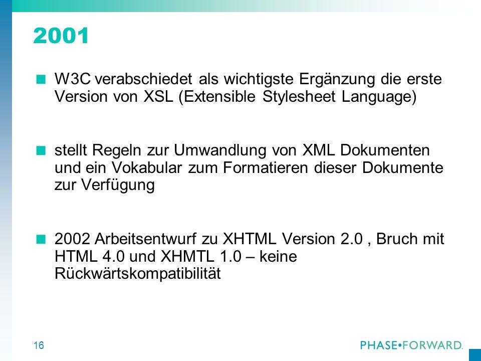16 2001 W3C verabschiedet als wichtigste Ergänzung die erste Version von XSL (Extensible Stylesheet Language) stellt Regeln zur Umwandlung von XML Dok
