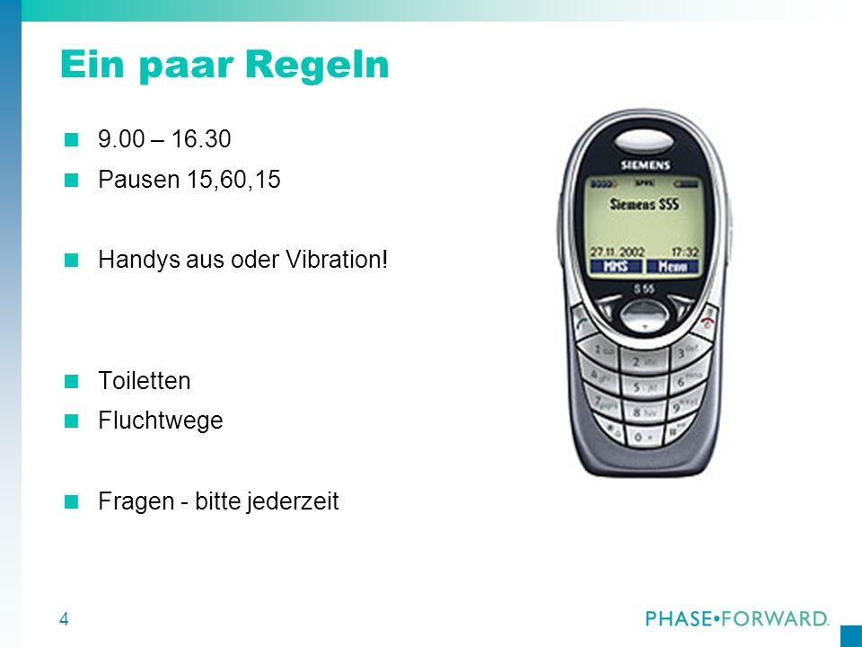 4 Ein paar Regeln 9.00 – 16.30 Pausen 15,60,15 Handys aus oder Vibration! Toiletten Fluchtwege Fragen - bitte jederzeit