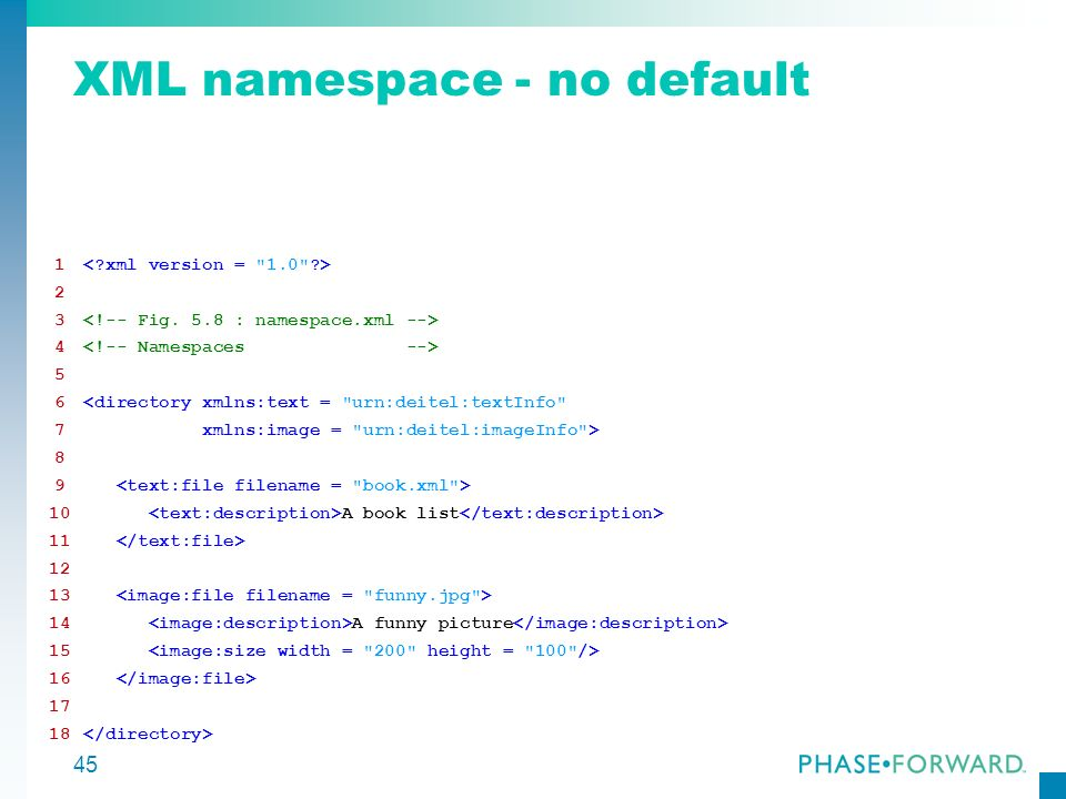 45 XML namespace - no default 1 2 3 4 5 6<directory xmlns:text =