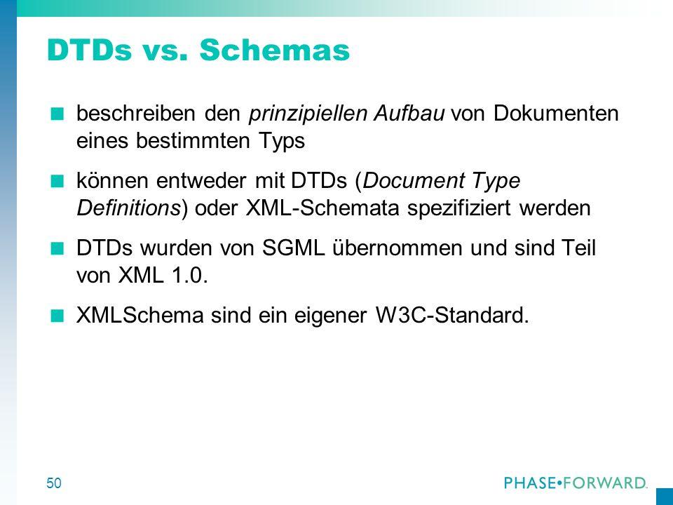 50 DTDs vs. Schemas beschreiben den prinzipiellen Aufbau von Dokumenten eines bestimmten Typs können entweder mit DTDs (Document Type Definitions) ode