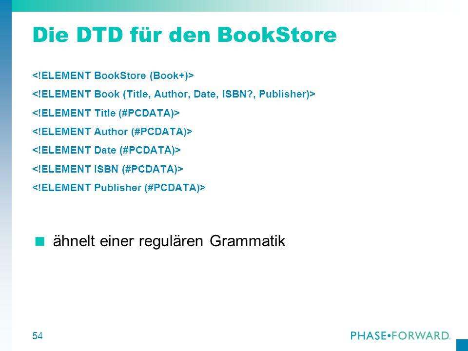 55 Deklaration deklariert das Element BookStore BookStore hat mindestens ein Kind-Element Book.
