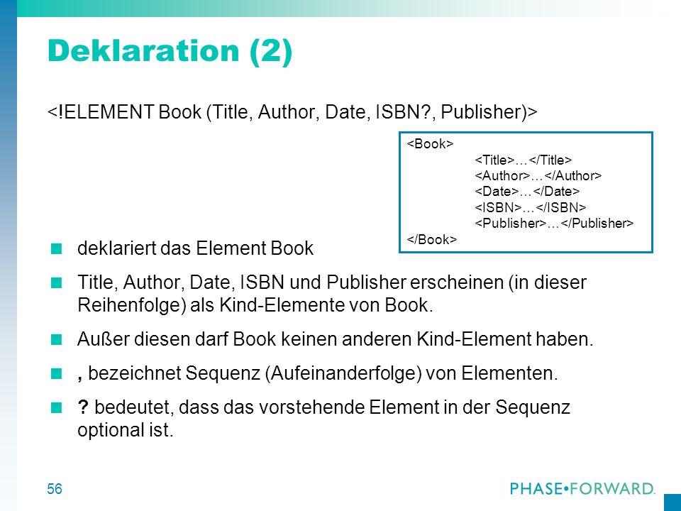 57 Rekursive Darstellung rekursive Deklaration von BookStore Bookstore besteht entweder aus genau einem Kind- Element Book oder hat zwei Kind-Elemente, nämlich Book und BookStore | bezeichnet Auswahl (Disjunktion) Beachte: Diese rekursive Deklaration ist nicht äquivalent zur vorherigen: