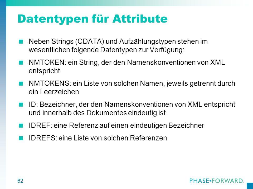 62 Datentypen für Attribute Neben Strings (CDATA) und Aufzählungstypen stehen im wesentlichen folgende Datentypen zur Verfügung: NMTOKEN: ein String,