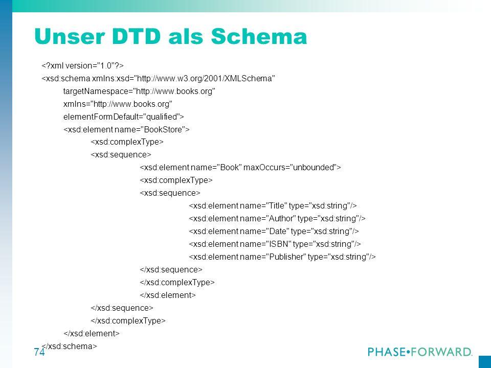 74 Unser DTD als Schema <xsd:schema xmlns:xsd=