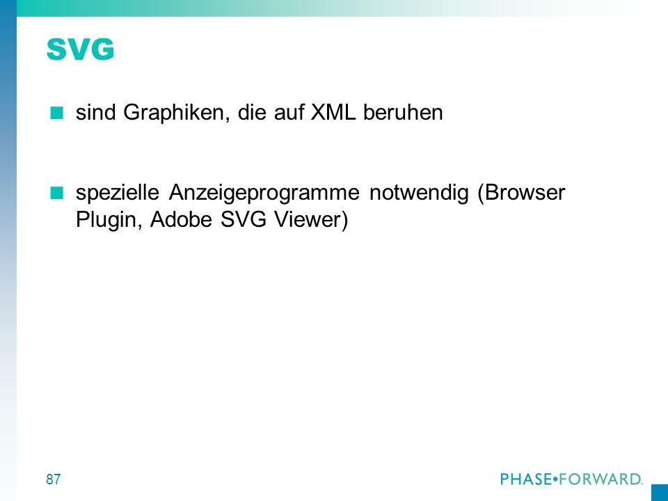 87 SVG sind Graphiken, die auf XML beruhen spezielle Anzeigeprogramme notwendig (Browser Plugin, Adobe SVG Viewer)