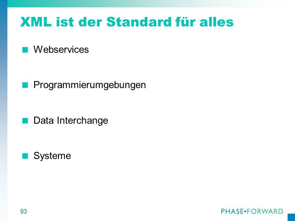93 XML ist der Standard für alles Webservices Programmierumgebungen Data Interchange Systeme