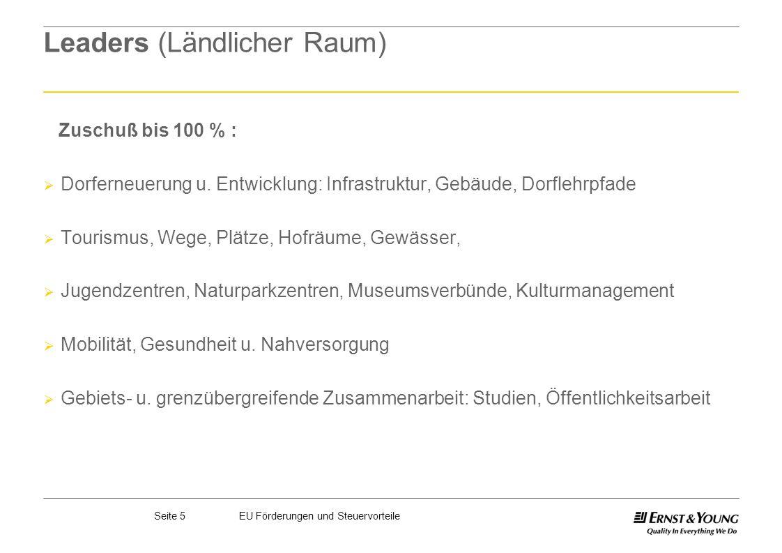Seite 5EU Förderungen und Steuervorteile Leaders (Ländlicher Raum) Zuschuß bis 100 % : Dorferneuerung u. Entwicklung: Infrastruktur, Gebäude, Dorflehr