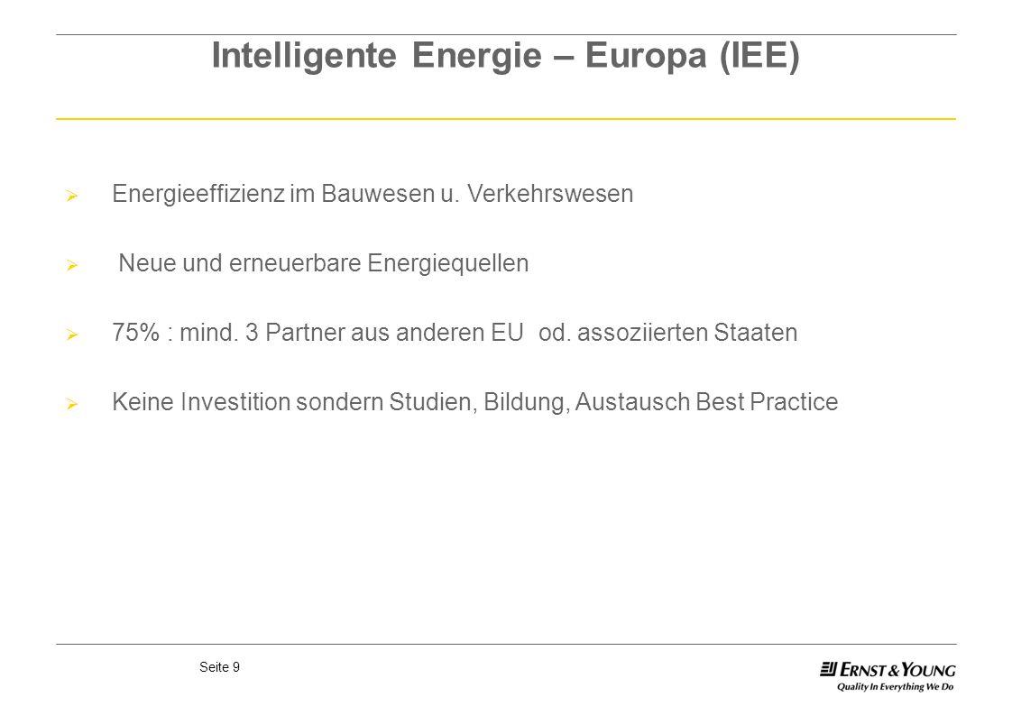 Seite 9 Intelligente Energie – Europa (IEE) Energieeffizienz im Bauwesen u. Verkehrswesen Neue und erneuerbare Energiequellen 75% : mind. 3 Partner au