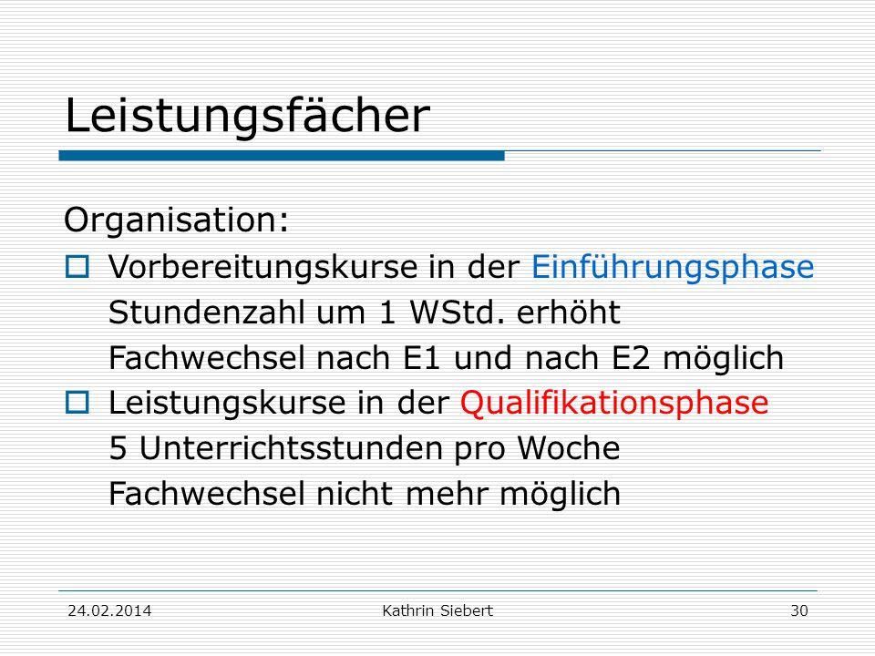 Kathrin Siebert Leistungsfächer Organisation: Vorbereitungskurse in der Einführungsphase Stundenzahl um 1 WStd.